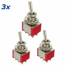 3pcs Toggle Switch DPDT On-Off-On 6 PIN 3 Position 5A 120V AC / 2A 250V AC Red