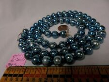 "Christmas Garland Mercury Glass Blue 38"" Long 7/16"" Beads Dn32 Vintage"