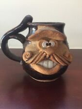 Studio Pottery Eakin Hand Made Funny Face Smile with Cap Stoneware Mug Signed