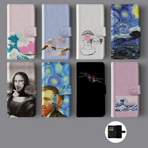 AESTHETIC ART VAN GOGH HOKUSAI MONA LISA LEATHER WALLET PHONE CASE FOR IPHONE