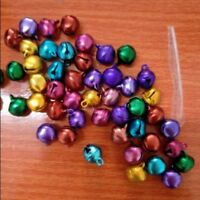 Lot Of 100PC 6/10MM Colorful Small Jingle Bells Iron Loose Beads Xmas Decoration