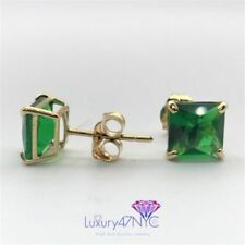 1.5 CT Princess Cut Green Emerald Stud Earrings Real 14K Solid Yellow Gold