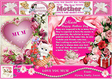 PERSONALISED MOTHERS DAY CARD/PLACEMAT A3 44cm x 29.7cm KEEPSAKE GIFT LAMINATED