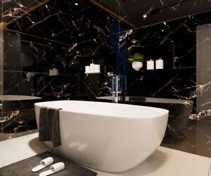 SAMPLE of £26.89/m2 Super Black Marble High Gloss 120x60cm Porcelain Tiles
