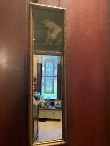 Antique Victorian Gold Wall Trumeau Mirror With Art Deco Woman Framed Flapper