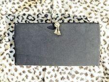 Vintage Rhinestone Black Bow Clutch Purse Bag Satin Gothic Vampire Rockabilly