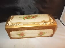 VINTAGE WOODEN MUSIC BOX JEWELRY BOX HAND PAINTED PLAYS A BALLET TUNE HINGED TOP