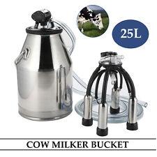 Stainless Steel Dairy Cow Milker Milking Machine Bucket Tank Barrel 25L
