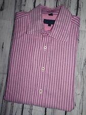 "BODEN LONDON Mens Shirt Pink Stripe Long Sleeve Button Cuff SIZE LARGE 16"""