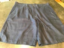 Men's Tasso Elba Navy Blue Linen Flat Front Chino Bermuda Shorts Size 38