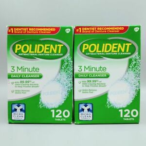 Polident 3 Minute, Antibacterial Denture Daily Cleanser 120 Tablets 2PK Exp 6/22