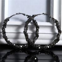 Black Bling Big Large Circle Loop Hoop Round Earring Woman Charm Jewelry S