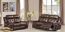 Sierra 2 and 3 Seat Recliner Sofas Set Brown Leather Air With Chrome Trim