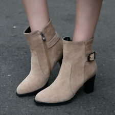 Winter Ankle Boots For Women Zipper Pointed Toe Chunky Heel Short Booties Shoes