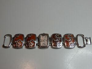 vintage/retro geneva platinum ladies bracelet wrist watch - working