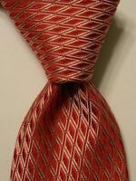"VALENTINO Men's 100% Silk Necktie ITALY Luxury Designer LOGO ""V's"" Red/White EUC"