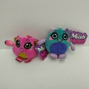 """MushMeez 3.5"""" Keyring Pink Dragon & Turquoise Cat - New with Tags"""