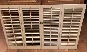 "vintage  shutter 4 panel 47''w x 30"""" h  Wood VTG  Wood Interior louver Shabby"
