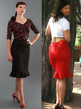 Pencil skirt Red Black 1950s Wiggle Vintage Retro style Frill Fishtail 6 8 12 14