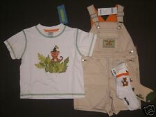 NWT Gymboree Jungle Preserve 12-18 Months Tiger Short Overalls Tee & Socks