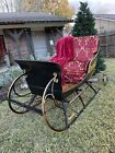 Two Person Horse Drawn Sleigh   Refurbished  New Upholstery and Paint