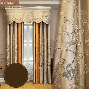 luxury living room embroidered gold brown cloth blackout curtain valance B581