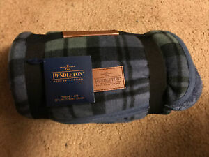 PENDLETON FLEECE NAVY BLUE PLAID THROW BLANKET 50 x 70  BRAND NEW WITH TAGS