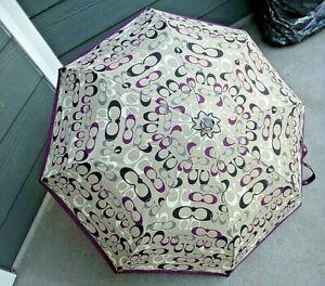 """NWT COACH Grey,Purple, Black, White Signature """"C"""" Automatic Retractable Umbrella"""