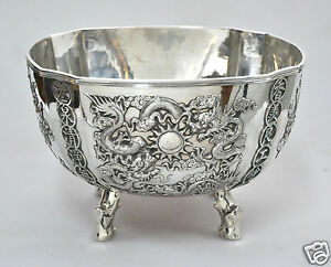 1349 GRAMS ANTIQUE CHINESE EXPORT SOLID SILVER DRAGON PRUNUS BOWL CHINA CUMWO
