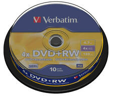 30 DVD +RW Riscrivibili 100 % Vergini Originali Verbatim 4.7 G.B 4X 120 Min Serl
