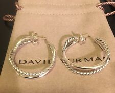 David Yurman Sterling Silver Crossover Hoop Earrings