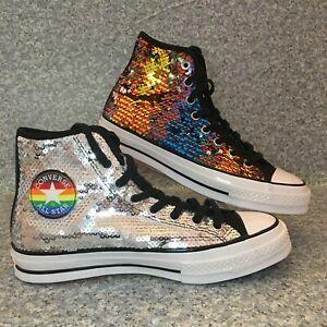 Converse Chuck 70 Pride Sequin Rainbow & Silver Shoes 7.5 M / 9.5 W - NEW