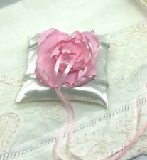 Blush ivory wring pillow,  wedding ring pillow, pillow with large pink flower