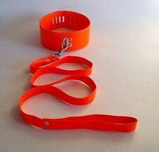 Hot Orange Faux Leather Locker Neck Collar Choker Neck collar Leash UK Seller