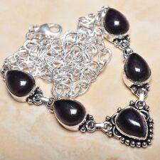 hecho a Mano Elegante Amatista violeta plata de ley 925 Collar 49.5cm n00339