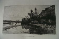 ADOLPHE APPIAN Original ETCHING 1868 French Barbizon Landscape printed by Cadart