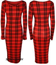 Womens Ladies Long Sleeve Tartan Check Print Bodycon Midi Dress Size UK 8-26 NEW