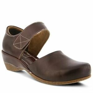 Spring Step L'artiste Gloss Mary Jane Leather Clog Chocolate Brown