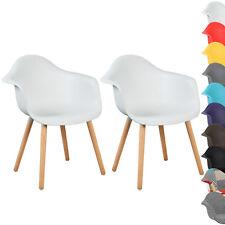 2er Set Esszimmerstühle Design Esszimmerstuhl Küchenstuhl Holz Weiß BH37ws-2
