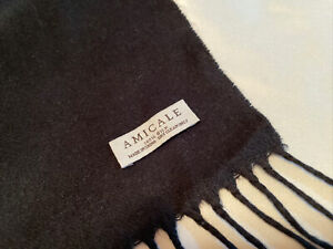 "Amicale Black 100% Silk Scarf Winter 63"" x 20"" Soft Cashmere Feel Fringe 4"""