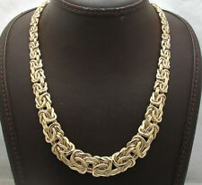 """18"""" Bold Graduated Byzantine Chain Necklace Lobster Lock Real 18K Yellow Gold"""