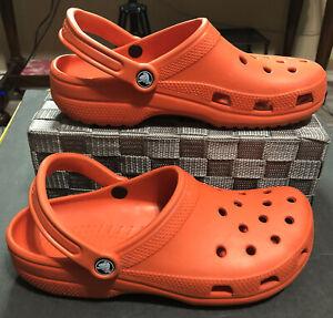 Crocs Classic Orange Clog Sandals Unisex Men 9 Women 11 Slip On Shoes RETIRED