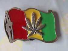 Rasta Reggae Estaño Diseñado en EE. UU. hecho En México 1990 Correa Hebilla De Metal