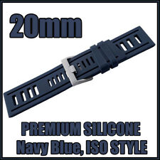 • 20mm Navy Blue, Diver, ISO Style, Silicone Rubber, High Quality Watch Strap •