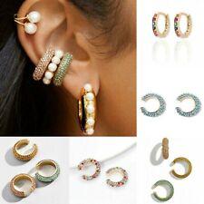 Ear Clip Flower Hoop Earrings Round Small Clip Earrings Rhinestone Ear Cuff