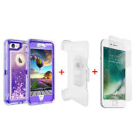 For iPhone 6 Glitter Clear Defender Case Cover w/Clip fits Otterbox Purple