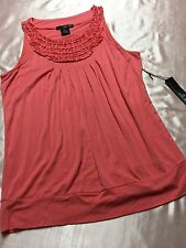 NWT Willi Smith Misses Ruffled Tux Front Super Soft Knit Sleeveless M