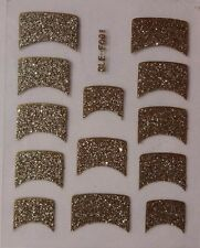 Nail Art Decal Stickers Gold Glitter Nail Tips