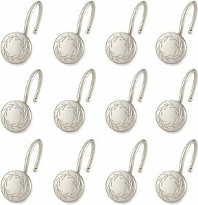 Elegant HomeFashion Set of 12 Shower Curtain Hooks  Poet Laureate - Satin Nickel