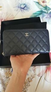 Authentic Chanel Caviar Leather Zip Blue Wallet